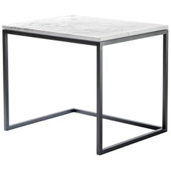 ESOPO Modern Handmade Iron Coffee Table with White Carrara Marble Top