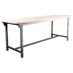 1960s Rectangular White Industrial Metal Dining or Statement Table