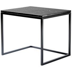 Esopo Modern Handmade Iron Coffee Table with Black Marquina Marble Top