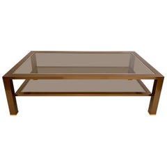 Two-Tier Chrome and Brass Coffee Table in the Taste of Romeo Rega