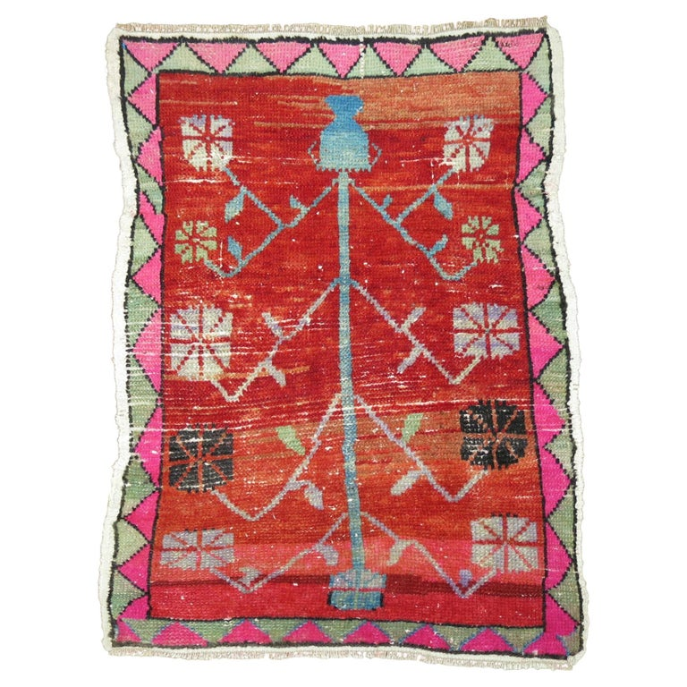 Vintage Turkish Attitude Rug with Pink Accents For Sale