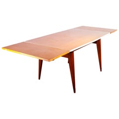 1950s Extending Rectangular Dining Table with Shaped Top and Two Extensions
