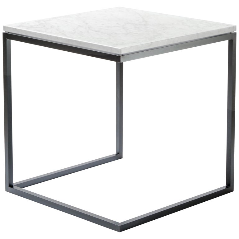 """""""ESOPO"""" Modern Handmade Iron Side Table with White Carrara Marble Square Top For Sale"""
