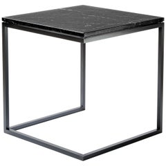"""ESOPO"" Modern Handmade Iron Side Table with Black Marquina Marble Square Top"