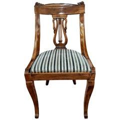 19th Century Napoleon III Walnut French Gondola Chair Restored