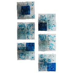 Toni Zuccheri for Venini Murano Italian Glass Sconces Wall Lamps Patcwork, 1970s