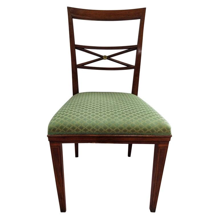 Early 20th Century Walnut Italian Chair Louis XVI Style For Sale