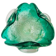 Italian Midcentury Murano Glass Bowl in Emerald Green