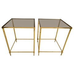 Pair of Brass and Smoked Glass End Tables