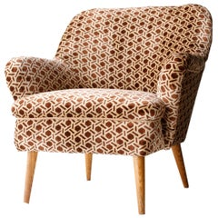 Midcentury Curved Brown Beige Oak Rubelli Velvet Italian Armchair, Italy, 1960