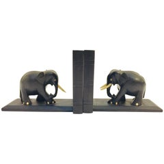 Ebony Hand Carved Wooden Elephant Bookends