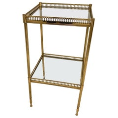 Two-Tier Brass and Glass End Tables