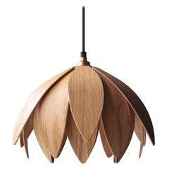 """Mac Master """"Lotus Bud"""" Oakwood Organic Brown British Ceiling Lamp, 2018"""