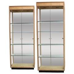 Pair of Elegant Scene Two Burl Wood Display Cabinets by Henredon