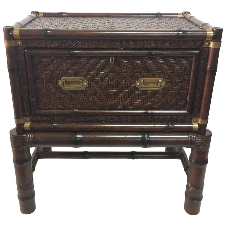 Pair of Island Colonial Style Ralph Lauren Faux Bamboo Cabinets For Sale