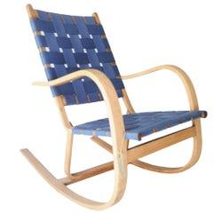 After Alvar Aalto Curved Blue Beige Birchwood Finnish Rocking Chair, 1940