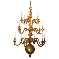 Pair of Queen Anne Style Three-Tier Brass Chandeliers