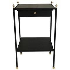 French Modern Neoclassical Iron & Leather Side Table/Nightstand by Jacques Adnet