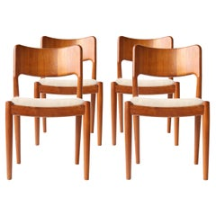 N.O. Møller Scandinavian Beige Brown Teak Danish Four Chairs, Denmark, 1950