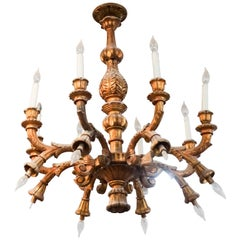 French Wooden Chandelier, circa 1900