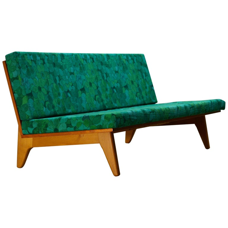 Midcentury Swedish Teak and Beechwood Sofa or Daybed by Gustaf Hiort Af Ornäs 1