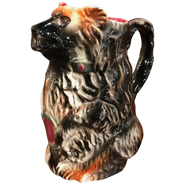 19th Century French Painted Ceramic Barbotine Poet-Laval Bear Pitcher For Sale