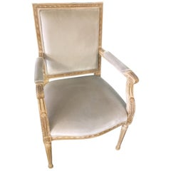 Schumacher Louis XVI Armchair in Gainsborough Velvet Fabric