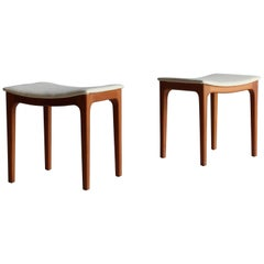Gustav Bertelsen, Pair of Custom Stools, Solid Teak, White Fabric, Denmark 1950s