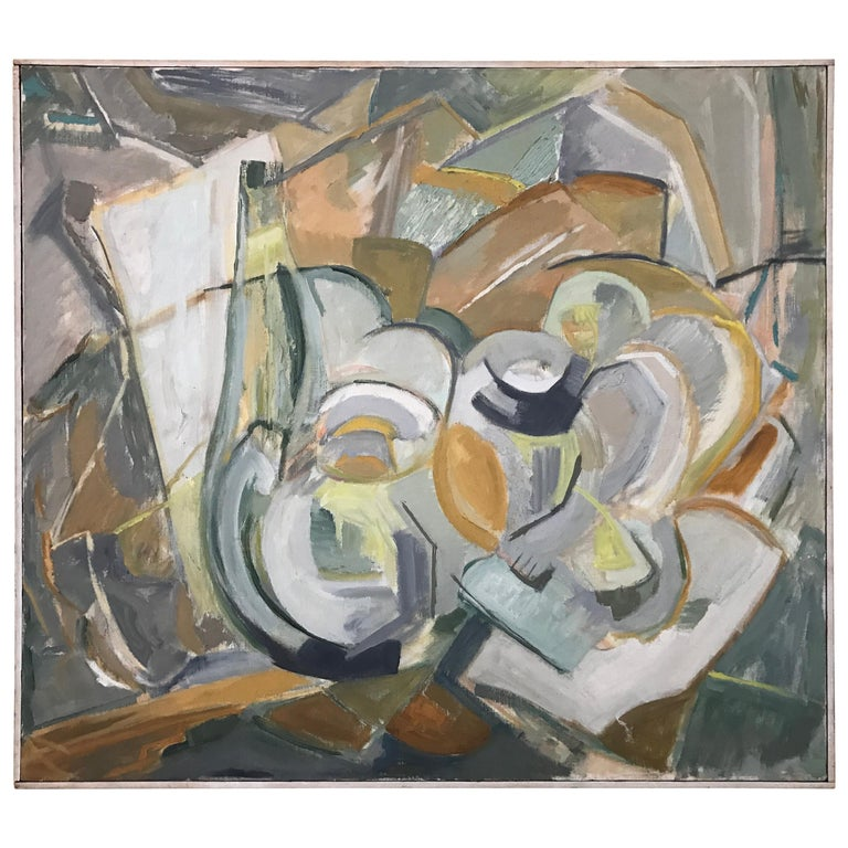 Large Modernist Abstract Expressionist Oil Painting Still Life For Sale