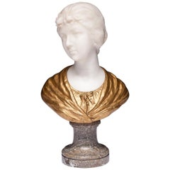 Gilded Alabaster Bust of Woman Signed Van Vaerenbergh Gustave