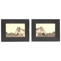 Two Framed Metal Horse Relief Pictures by Georg Bommer, Germany, 1920s