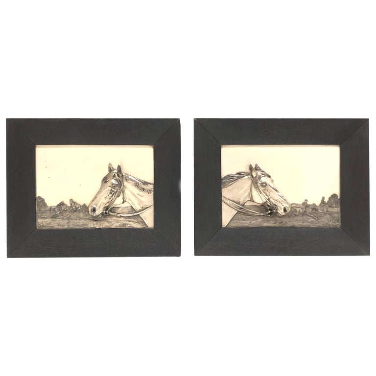 Two Framed Metal Horse Relief Pictures by Georg Bommer, Germany, 1920s For Sale