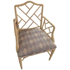 Schumacher Theodore Bamboo Chair in Miles Redd Harlequin Fabric