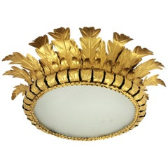 Large Midcentury Gilt Metal Crown Sunburst Light Fixture with Frosted Glass