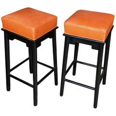Pair of 1950s Leather and Lacquered Bar Stools in the Style of James Mont