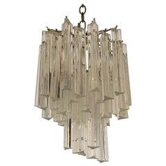 Glistening Venini Hollywood Regency Style Glass Multi Tier Chandelier