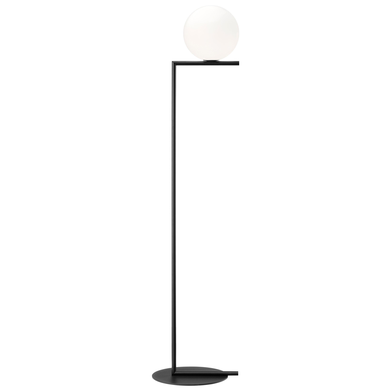Michael Anastassiades Modern Floor lamp in Black Steel Base and Glass for FLOS