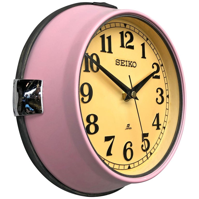 1970s Seiko Retro Vintage Industrial Antique Steel Quartz Wall Clock, Pink For Sale