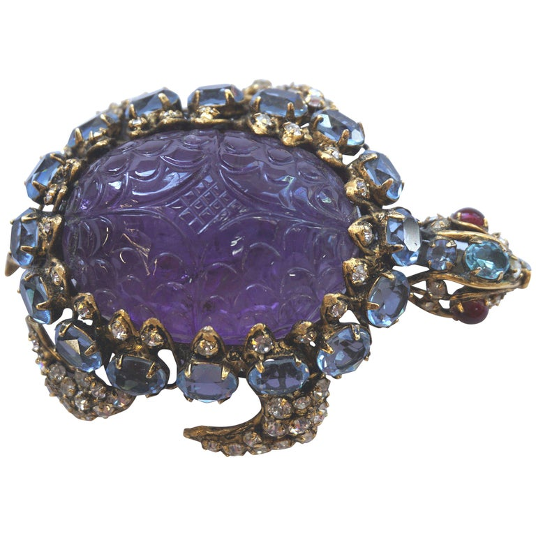 Iradj Moini Turtle Pin Amethyst, Blue Topaz, Rubies and Crystals For Sale