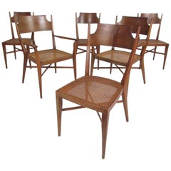 Set of Six Mid-Century Modern Cane and Walnut Dining Chairs