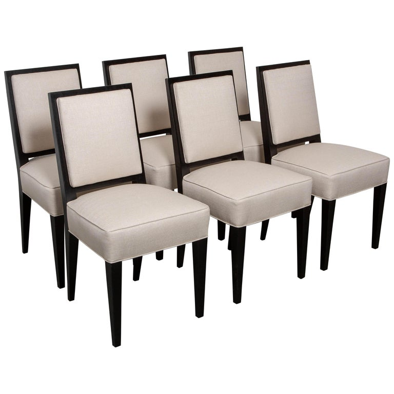 Set of Six Art Deco Style Dining Chairs For Sale