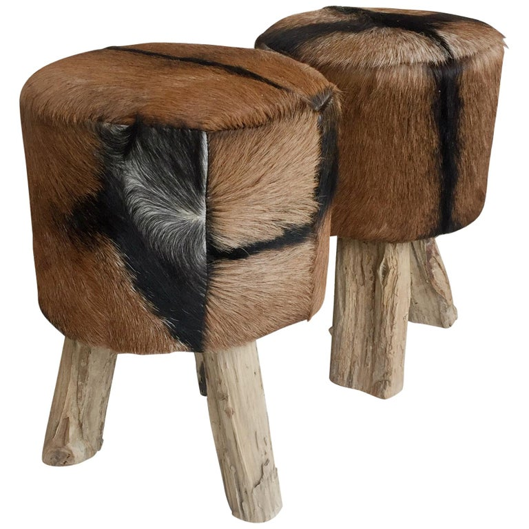 Pair of Primitive Nubuck Hide Stools with Wood Legs For Sale