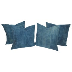 Collection of Four Blue Linen Homespun Pillows Set of 4