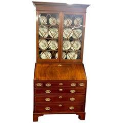 Antique English George III Inlaid Flame Mahogany Slant-Front Bureau Bookcase