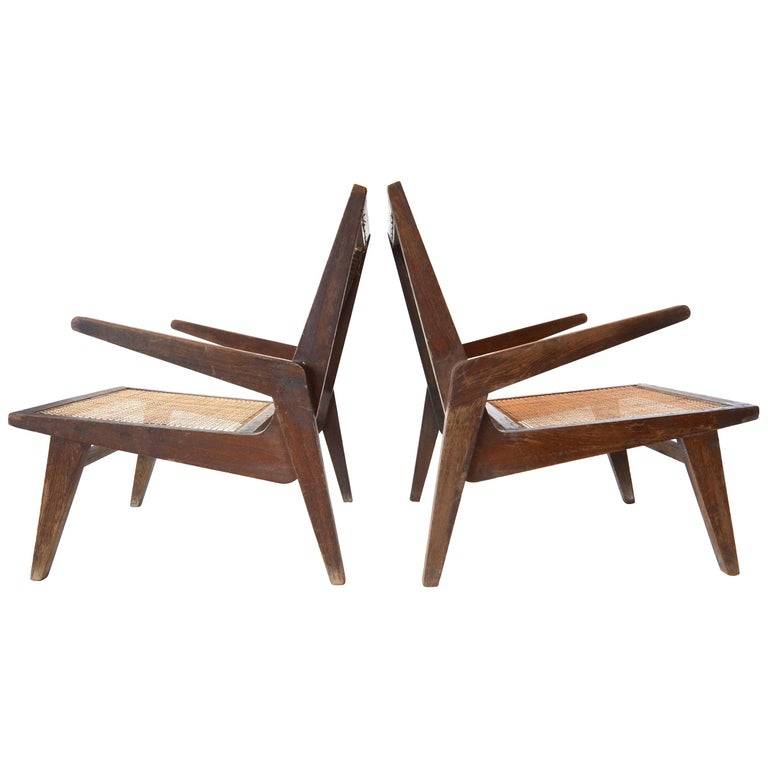 Pierre Jeanneret lounge chairs, 1956, offered by Porch Modern