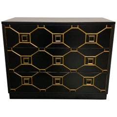 Hollywood Regency Dorothy Draper Style Black and Gold Dresser