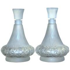 "Pair of French ""Lalique Style"" Crystal Scent Bottles"