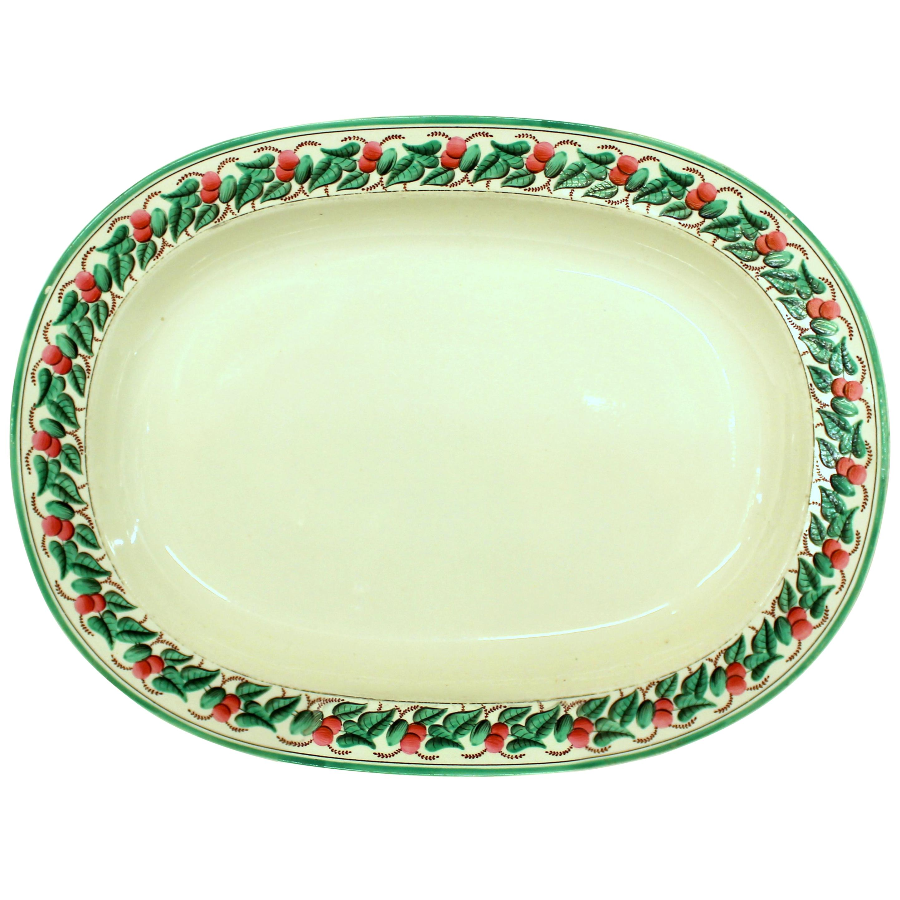 """Antique English Early """"Wedgwood"""" Creamware 'Earthenware' Hand Painted Platter"""