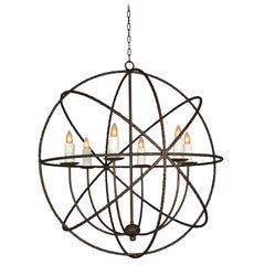 Handsome Very Large Spherical Hand Forged Iron Bronze Finish Chandelier