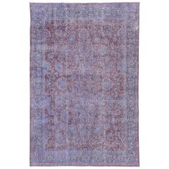 Vintage Distressed Overdyed Carpet, Lavender Tones